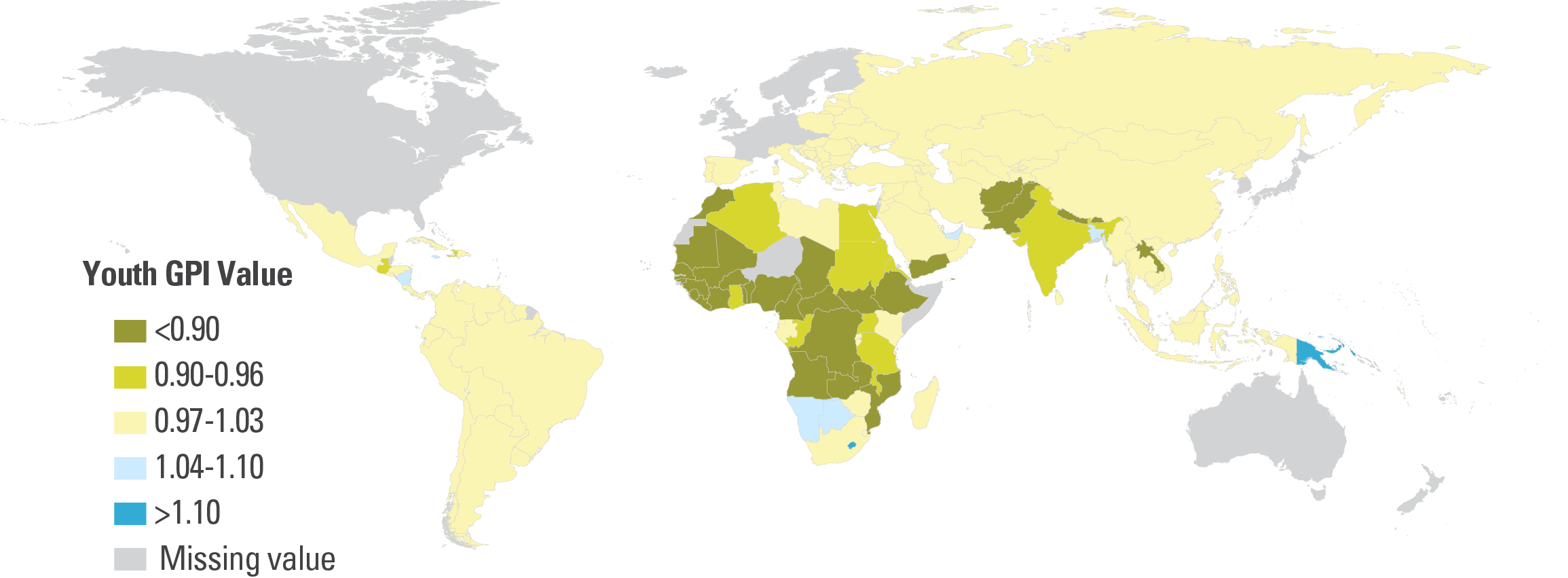 Costa Rica Population Density Map%0A The gender gap in youth literacy is widest in West and Central Africa and  in South Asia