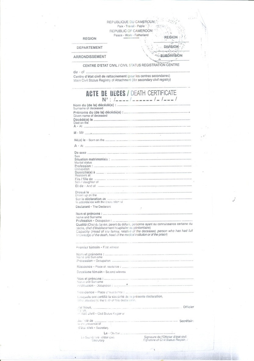 Cameroon unicef data download sample death certificate yelopaper Images